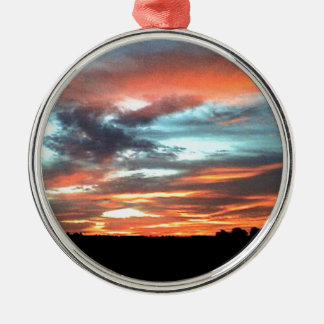 North Alabama Sunset Silver-Colored Round Ornament