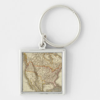 North America 13 Silver-Colored Square Keychain