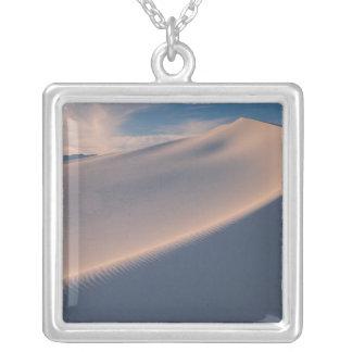 North America, America, New Mexico, White 2 Square Pendant Necklace