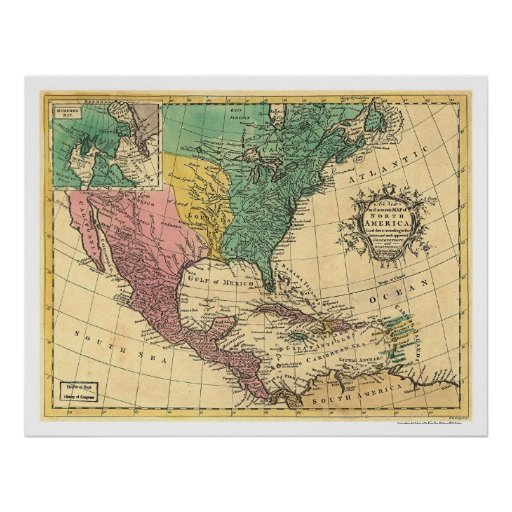 North America Map 1763 Poster
