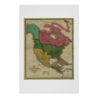 North America Map dated 1826 Poster