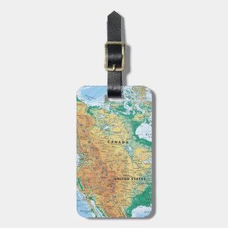 North America Map Luggage Tag