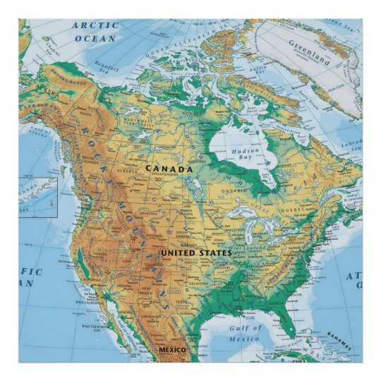 North America Map Poster | Zazzle.ca
