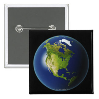 North America Seen from Space 2 2 Inch Square Button