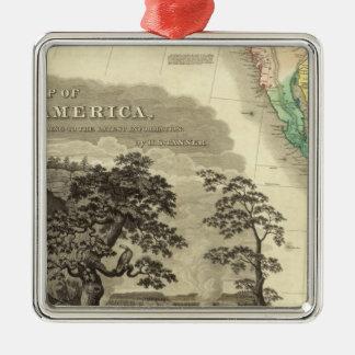 North America Southwest Silver-Colored Square Ornament