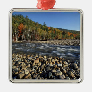 North America, US, NH, A cobble beach on the Silver-Colored Square Ornament