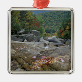North America, US, NH, Fall foliage in New Silver-Colored Square Ornament