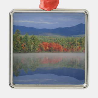 North America, US, NH, Fall reflections in Silver-Colored Square Ornament