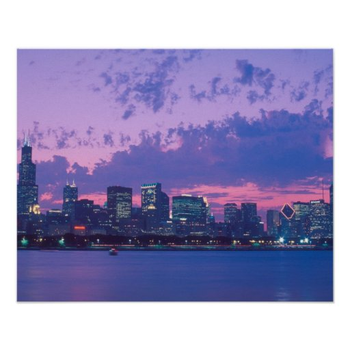 North America, USA, IL. Chicago skyline at dusk Print