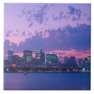North America, USA, IL. Chicago skyline at dusk Tile