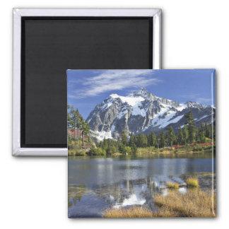 North America, Washington, Cascades. Mt. Shuksan Square Magnet