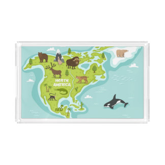 North American Animal & Plant Map Acrylic Tray