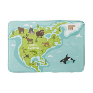 North American Animal & Plant Map Bath Mat