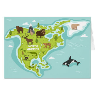 North American Animal & Plant Map Card