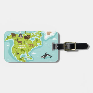 North American Animal & Plant Map Luggage Tag