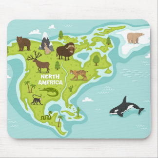 North American Animal & Plant Map Mouse Pad