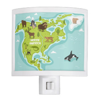 North American Animal & Plant Map Night Lights