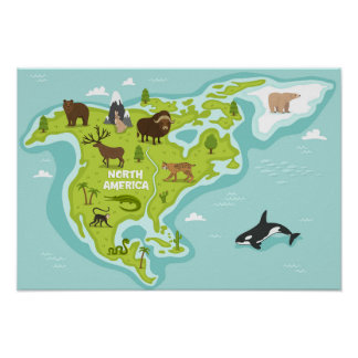 North American Animal & Plant Map Poster
