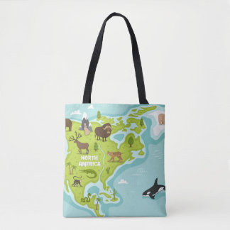 North American Animal & Plant Map Tote Bag