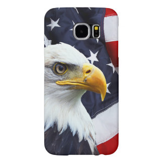 North American Bald Eagle on American flag Samsung Galaxy S6 Cases