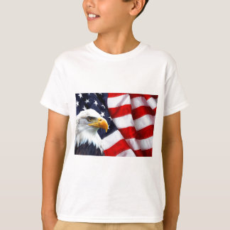 North American Bald Eagle on American flag T-Shirt