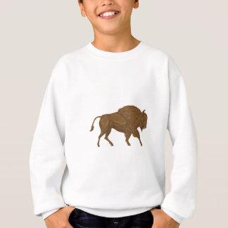 North American Bison Buffalo Charging Retro Sweatshirt