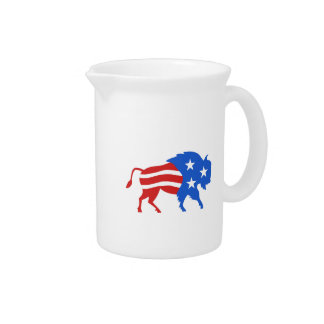 North American Bison USA Flag Retro Pitcher
