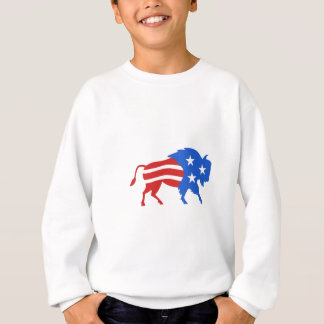 North American Bison USA Flag Retro Sweatshirt