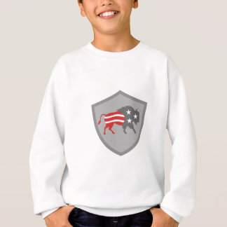 North American Bison USA Flag Shield Retro Sweatshirt