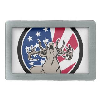 North American Deer USA Flag Icon Rectangular Belt Buckle