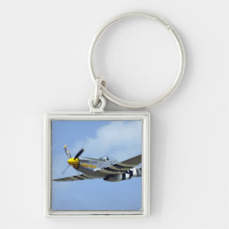 North American P-51D Mustang, Little Horse Silver-Colored Square Keychain