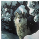 North American Timber Wolf in Snow Napkin