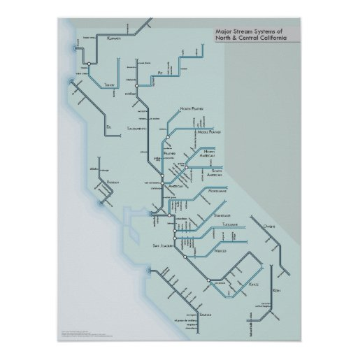 """North and Central California Rivers 18"""" x 24"""" Print"""