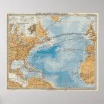 North Atlantic Ocean Map Poster