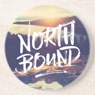 North Bound Quote Brush Typography Photo Template Coaster