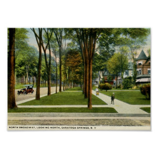 North Broadway, Saratoga Springs, NY Vintage Poster
