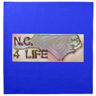 """""""North Carolina 4 Life"""" State Map Pride Design Napkin"""