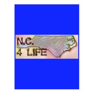 """North Carolina 4 Life"" State Map Pride Design Postcard"