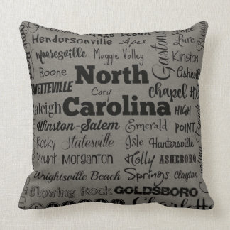 North Carolina cities throw pillow in gray/black