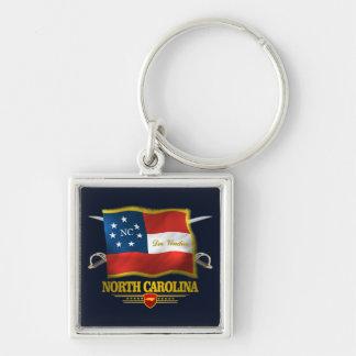 North Carolina -Deo Vindice Silver-Colored Square Keychain