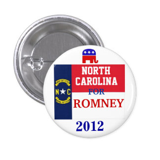 North Carolina  for Romney 2012 1 Inch Round Button