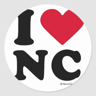 "NORTH CAROLINA - ""I LOVE NC"" ""I LOVE NORTH CAROLIN CLASSIC ROUND STICKER"