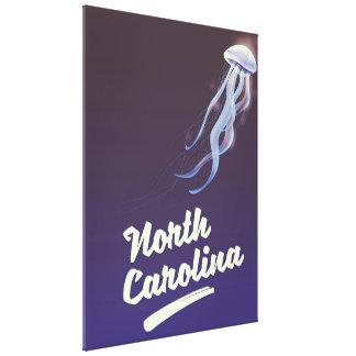 North Carolina Jellyfish travel poster Canvas Print