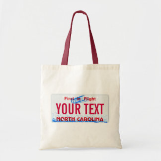 North Carolina license plate tote bag
