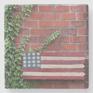 North Carolina, Linville, wooden US flag Stone Coaster