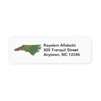 North Carolina Map Return Address Label