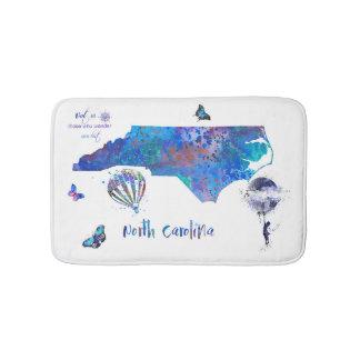 North Carolina map, watercolor North Carolina Bath Mat