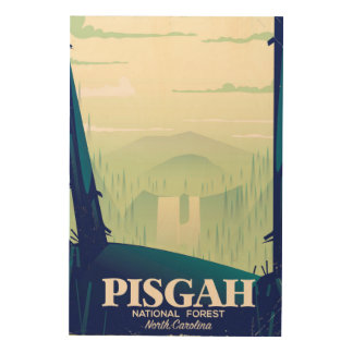 North Carolina Pisgah national park travel poster Wood Prints