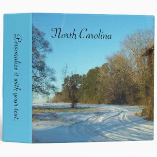 North Carolina - Snowy Path Vinyl Binder