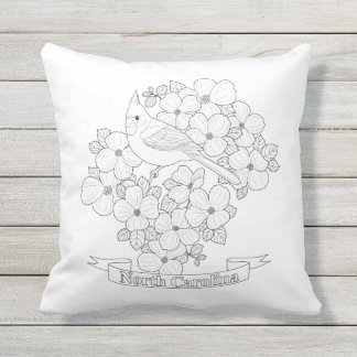 North Carolina State Bird and Flower Coloring Page Throw Pillow